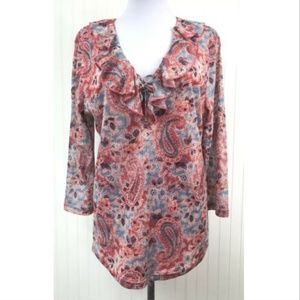 Chaps XL Blouse Paisley V-Neck w/Tie Ruffle Lined